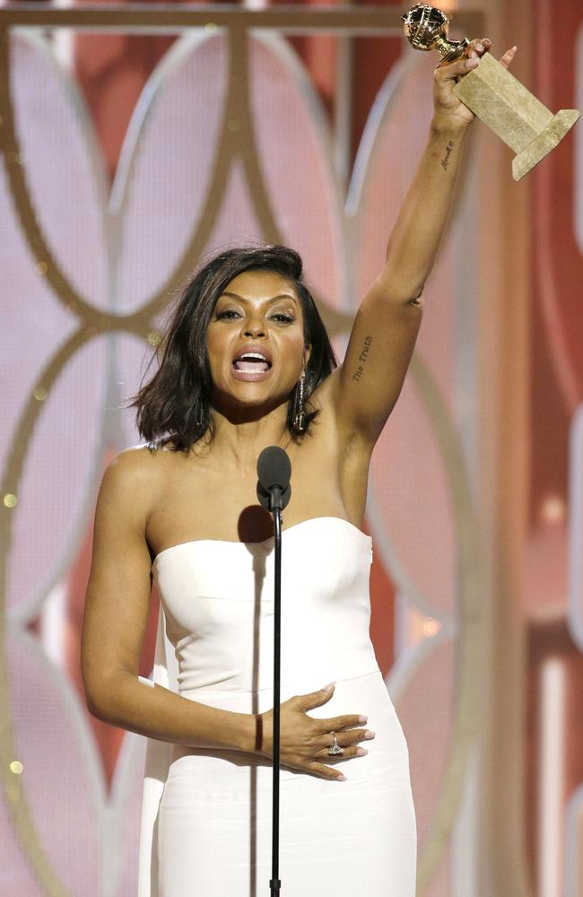 "Taraji P. Henson accepts the award for Best Actress - TV Series, Drama for ""Empire"" onstage during the 73rd Annual Golden Globe Awards at The Beverly Hilton Hotel on January 10, 2016 in Beverly Hills, California. (Photo by Paul Drinkwater/NBCUniversal via Getty Images)"