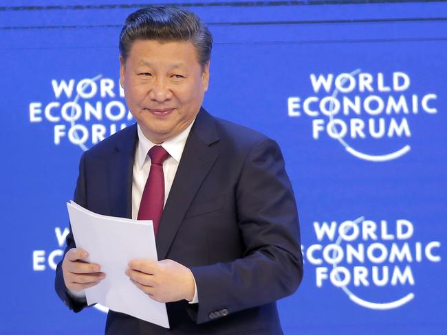 China's President Xi Jinping after his speech at the World Economic Forum in Davos, Switzerland. Picture: AP