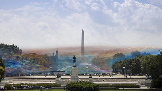 """This photo demonstrates how trees can interfere with wifi signals, but Lamm says """"multiple routers can create a field that extends all the way across Washington DC's National Mall as shown here. This image shows data instantaneously transmitted over different frequencies from a wi-fi antenna as blue, indigo and yellow fields."""""""