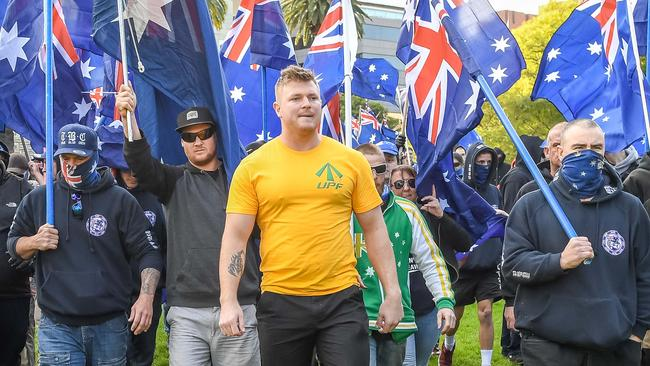UPF leader Blair Cottrell leads a march in Melbourne. Picture: Jake Nowakowski