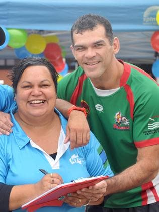 Kylie Hill and former international league player Chris McKenna at the open day. Picture: Renae Droop