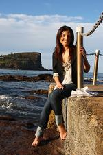 Actors Ada Nicodemou and Todd Lasance from TV show 'Home And Away' on Avalon Beach, Avalon, Sydney.