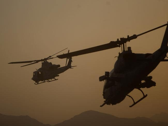 Combat drop ... The Delta Force commandos are believed to have been inserted near the remote oil facility by helicopter and V22 tilt-rotor Osprey aircraft. This picture shows US helicopters in operation in Afghanistan. Source: AP