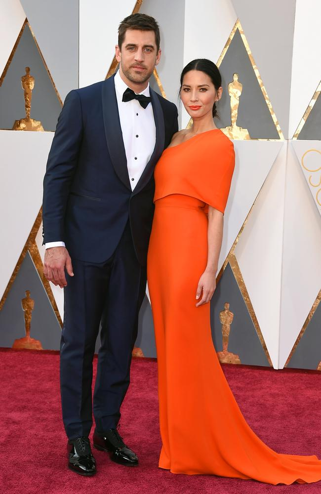 Aaron Rodgers and Olivia Munn attends the 88th Annual Academy Awards on February 28, 2016 in Hollywood, California. Picture: AP