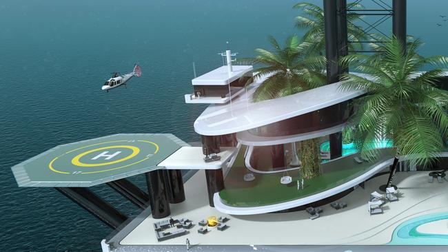 A penthouse and helipad would be included.