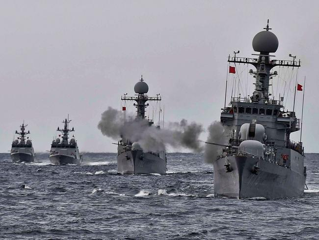 South Korean navy vessels take part in a naval drill off the east coast on September 4, 2017, two days after North Korea's latest nuclear test. Picture: South Korean Defense Ministry