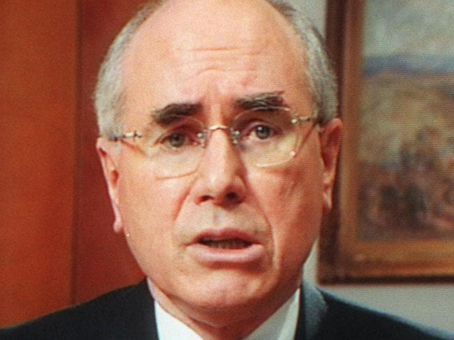 SEPTEMBER 19, 1999 : Still of Australian PM John Howard during 19/09/99 address to nation regarding Australia's leading role as international peacekeeping force deployed in East Timor to restore peace. Pic Ray Strange. P/