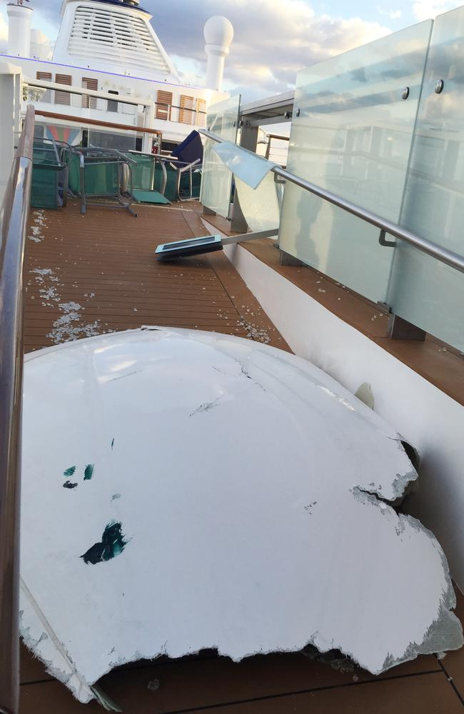 This image made available by Flavio Cadegiani shows damage to Royal Caribbean's ship Anthem of the Seas. Picture: AP