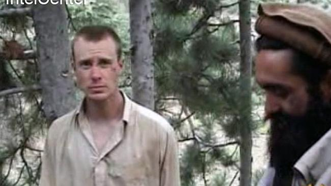 Captive... A still from video footage released by the Taliban in 2010 of a man believed to be Bowe Bergdahl, left. Picture: AP