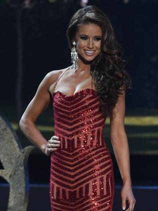 Viewers stunned ... Miss USA Nia Sanchez in the evening gown section. Picture: AFP