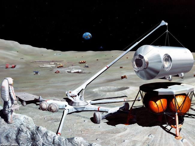 An artist's impression of future explorers mining the moon for minerals.