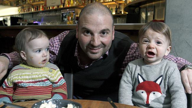 Mouths of babes ... Calombaris, with his son James, right, as a toddler with young friend Juliette at Mama Baba restaurant in South Yarra. Picture: NewsCorp.