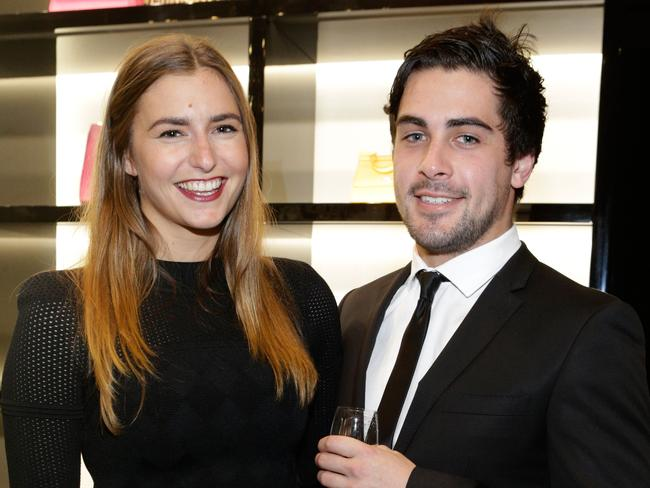 Frances Abbott with boyfriend Lindsay Smith at the Dolce & Gabbana cocktail party in Melbourne. Picture: Lucas Dawson Photography