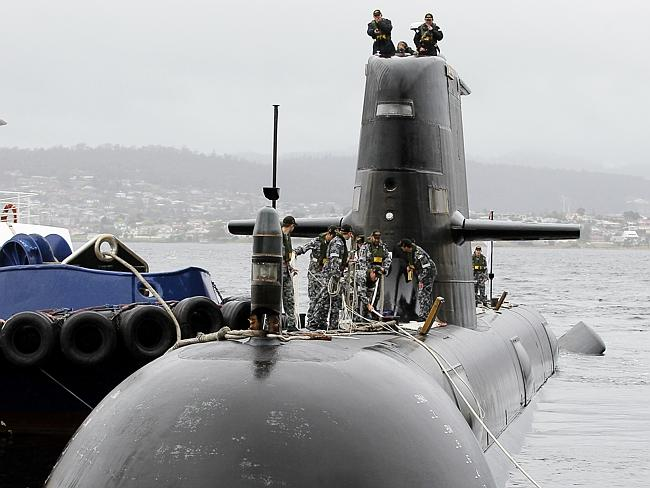 Much criticised ... The Collins Class Submarine HMAS Farncomb arrives in Hobart, Tasmania