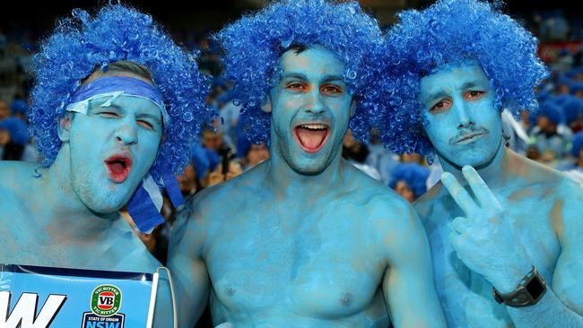 Blues fans show their support the State of Origin series between the New South Wales Blues and the Queensland Maroons.