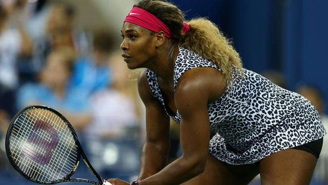 Serena Williams rocks a leopard print outfit during her US Open first round match again fellow American Taylor Townsend. Photo: Elsa