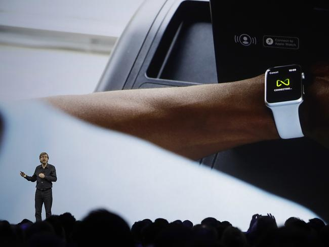 Apple's Kevin Lynch tells delegates about Apple Watch upgrades. Picture: Marcio Jose Sanchez/AP