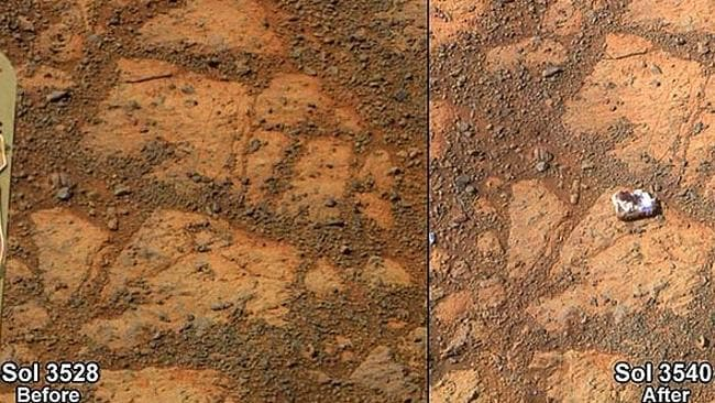 A rock or signs of alien life? The white rock, dubbed Pinnacle Island, that appeared suddenly on the surface of Mars. Pictures: NASA