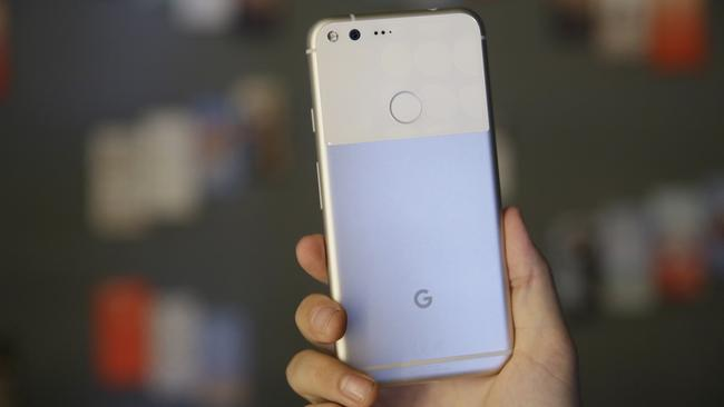 The glass inset on the back of the Google Pixel XL is a practical addition. Picture: AP Photo/Eric Risberg