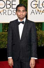 Funnyman Aziz Ansari attends the 73rd Annual Golden Globe Awards held at the Beverly Hilton Hotel on January 10, 2016 in Beverly Hills, California. Picture: Jason Merritt/Getty Images