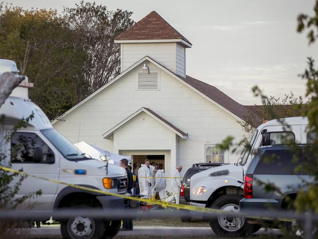 The scene outside First Baptist Church of Sutherland Springs. Picture: AP