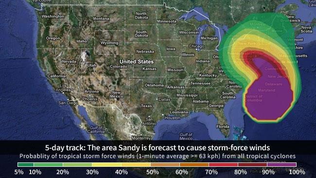 Hurricane sandy date in Australia