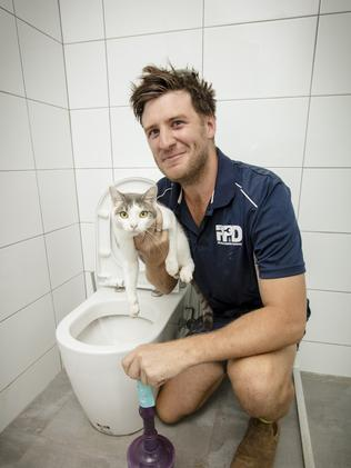 <s1>  This soggy cat was one of the less disgusting things Darwin plumber Chris Murphy has had to dig out of Territorian toilets over the years.  </s1>  <source></source>Picture:  <s1>  GLENN CAMPBELL </s1>  <source></source> <s1 />