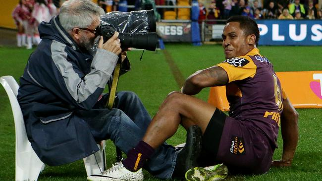 Ben Barba has a bit of fun with a cameraman after scoring a try. Pic: Peter Wallis