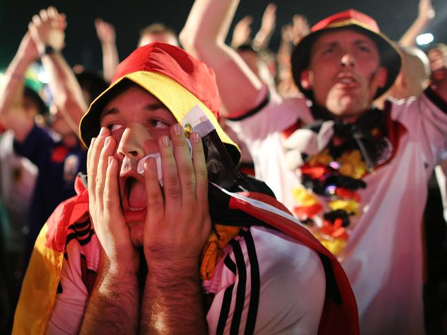 Germany soccer fans celebrate their team's victory over Algeria.