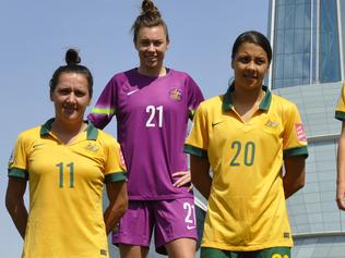 Pictured are the West Australian girls who are in the womens national soccer team, the Matilda's. (L-R) Lisa De Vanna, Mackenzie Arnold, Sam Kerr, Caitlin Foord, , Alanna Kennedy. This picture was taken and supplied by the FFA. Picture sourced by Glen Quartermain.