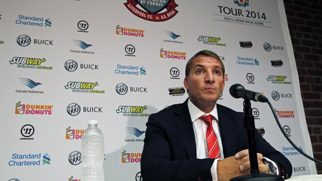 Liverpool F.C. manager Brendan Rodgers at a press conference in the United States.