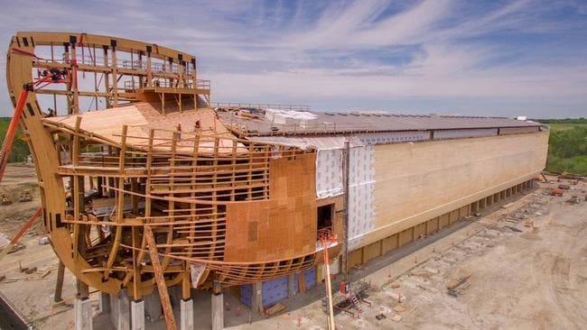 Biblical proportions: The ark dwarfs heavy equipment used in its construction.  <i>Picture: Channel 7</i>