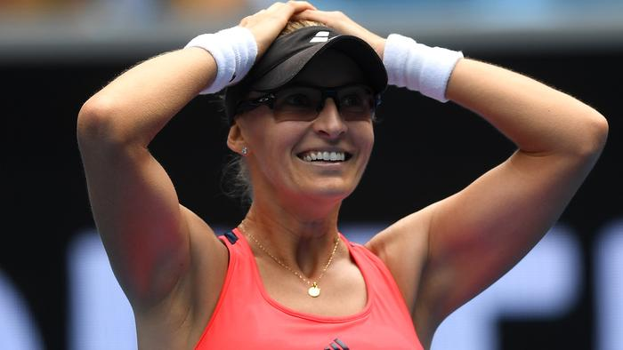 Mirjana Lucic-Baroni of Croatia celebrates her win in the Womens Singles match against Jennifer Brady of the United States in round four on day eight, at the Australian Open in Melbourne, Australia, Monday, Jan. 23, 2017. (AAP Image/Lukas Coch) NO ARCHIVING, EDITORIAL USE ONLY