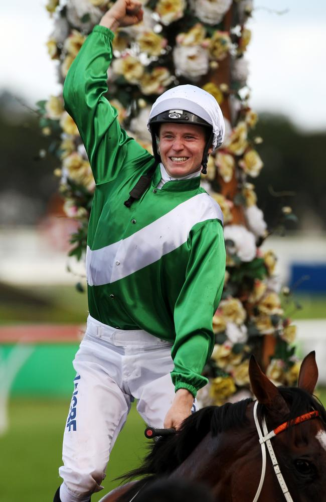 A jubilant James McDonald after winning the Golden Slipper on Mossfun.