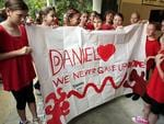 Students at Woombye State school made signs for Daniel in September 2011 as Bruce and Denise Morcombe began working in schools up the East coast. Picture: Megan Slade