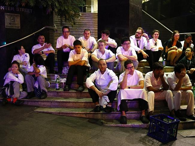 Staff of Rockpool sit outside on Hunter Street / Picture: Bradley Hunter