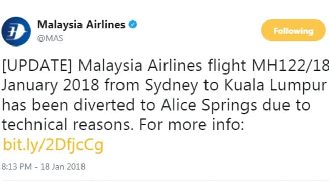 Malaysia Airlines tweets about needing to divert a Sydney to Kuala Lumpur flight to Alice Springs