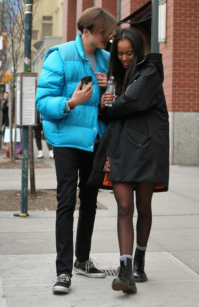 Harvard student Malia Obama gets giggly and cuddly with her boyfriend Rory Farquharson while shopping in Soho in New York City. Picture: Christopher Peterson/Splash News