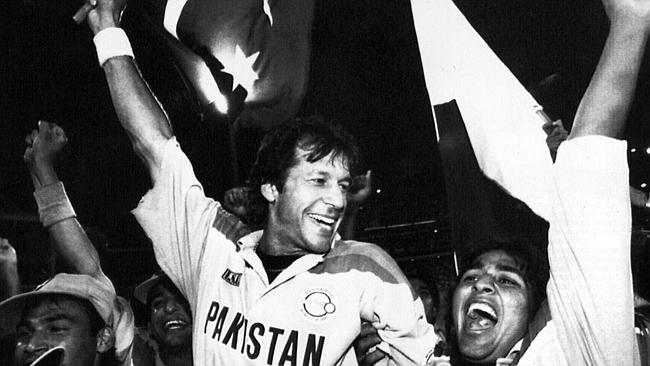 Imran Khan after leading Pakistan to victory at the 1992 World Cup by beating England in the final.