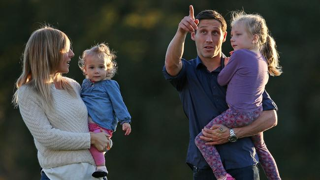 Mark Milligan with wife Rhia and daughters Audrey 16 months and Maya 4yrs old in Melbourne before the World Cup.