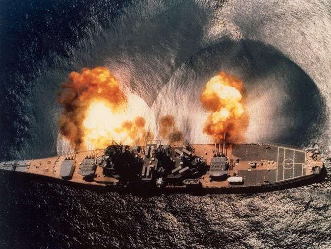 USS Iowa firing her 16in main guns during 1984 fleet exercises. Big guns fell out of favour during World War II due to the vastly superior flexibility and range of aircraft delivered bombs and torpedoes, and the introduction of guided missiles. Picture: USN