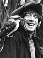 Molly Meldrum with a kookaburra he found injured on the road.