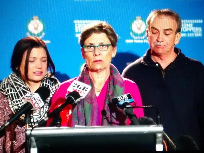 Chris Noble's family holds a press conference following his tragic death in an explosion and ensuing fire at a convenience store in Rozelle. Picture: Craig Greenhill