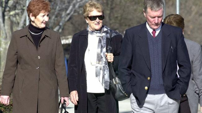 Heartache ... Gwen Winchester (centre), the widow of AFP Assistant Commissioner Colin Winchester, in 2001. Picture: Michael Jones
