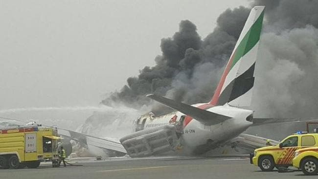 Emirates plane catches fire at dubai international airport - Emirates camera ...