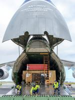 The huge freight plane begins to unload. Picture: Simon Casson