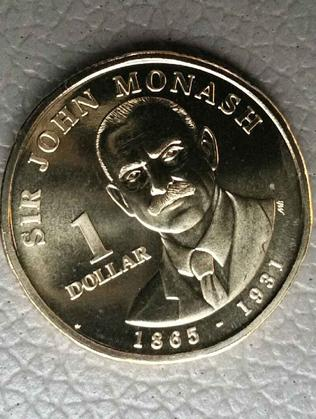 The special $1 coin adorned with the likeness of the celebrated military general, Sir John Monash.