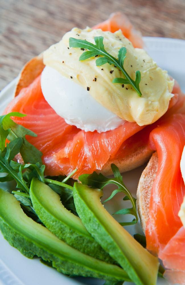 Poached eggs, avocado and salmon is a high fat breakfast.