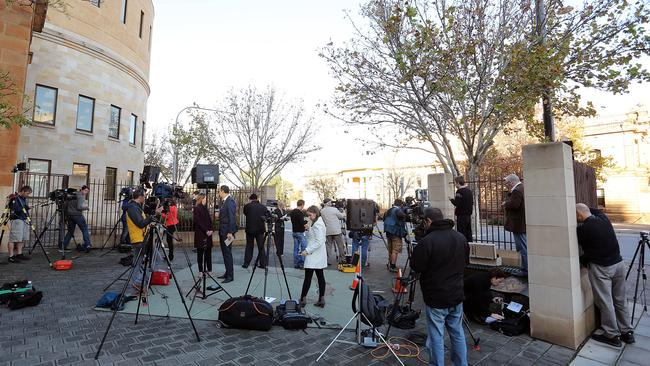 The huge media gathering on the corner of Angas St and King William St. Picture: Daniel Kalisz/Getty Images