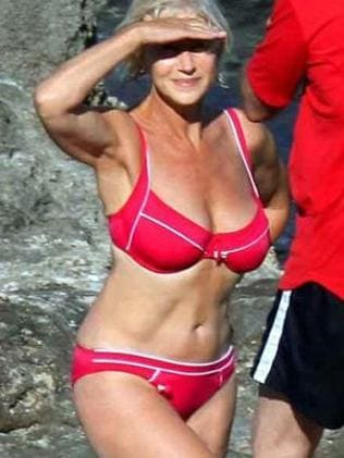 Helen Mirren in her famous red bikini